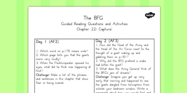 Guided Reading Questions Chapter 22 to Support Teaching on The BFG - australia, bfg, guided reading