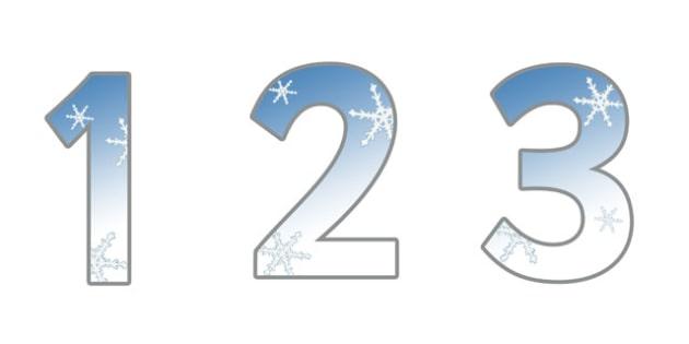 0-9 Display Numbers (Winter Snowflakes) - Display numbers, 0-9, numbers, display numerals, display lettering, display numbers, display, cut out lettering, lettering for display, display numbers
