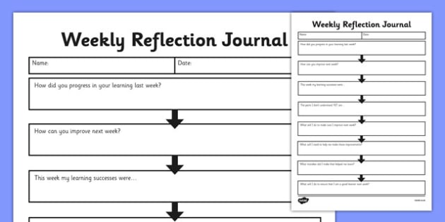 Weekly Reflection Journal  Weekly Work Reflection Journal