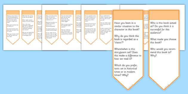 Guided Reading Curriculum Questions Bookmarks Upper KS2 - guided reading, curriculum, questions, bookmarks, uks2, upper ks2