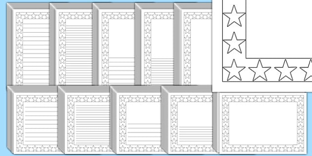Editable Black and White Star Page Borders Pack - page borders