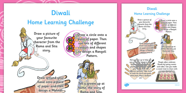 Diwali Home Learning Challenge Sheet Reception FS2 - eyfs, diwali, home learning, challenge, sheet