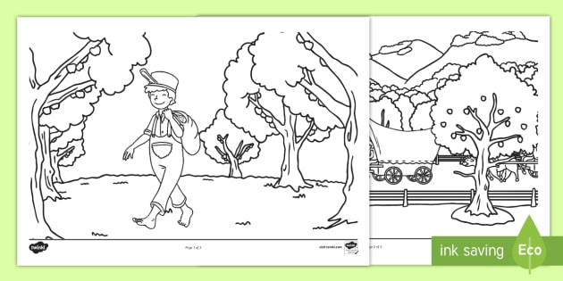 Johnny Appleseed Coloring Activity Sheet