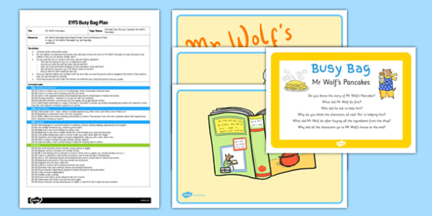 Story Activity EYFS Busy Bag Plan and Resource Pack  to Support Teaching on Mr Wolf's Pancakes  - EYFS, Pancake Day, Shrove Tuesday