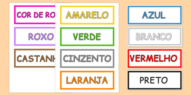 Colours Vocabulary Cards Portuguese - portuguese, colours, vocabulary, cards