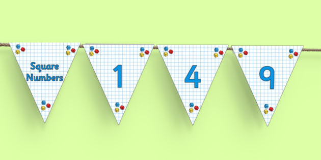 Prime, Square and Triangular Numbers Bunting - cfe, prime, square, triangular, numbers, bunting, display bunting