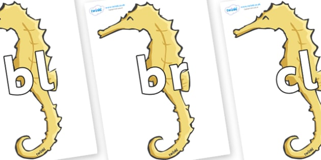 Initial Letter Blends on Seahorses - Initial Letters, initial letter, letter blend, letter blends, consonant, consonants, digraph, trigraph, literacy, alphabet, letters, foundation stage literacy