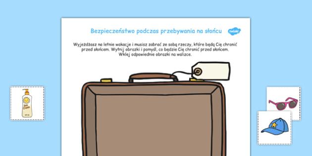 Wytnij i wklej Bezpieczeństwo na słońcu po polsku - lato