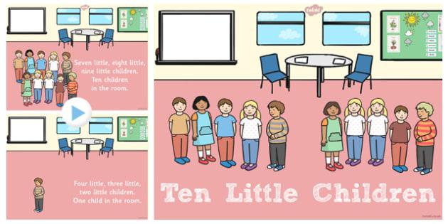 Ten Little Children Counting Song PowerPoint - Ten, Little, Song
