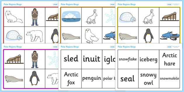 Polar Regions Bingo - Polar Regions Bingo, Polar Regions, polar region, region, polar, bingo, game, fun, activity, ice, North Pole, South Pole, Arctic, Antarctic, polar bear, penguin, glacier, iceberg, seal, husky, northern lights, igloo, Inuit, snow