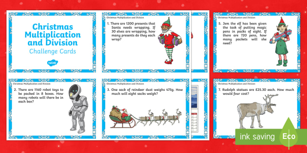 LKS2 Christmas Multiplication and Division Challenge Cards