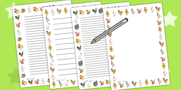 Chicken Licken Page Borders - writing template, stories, books