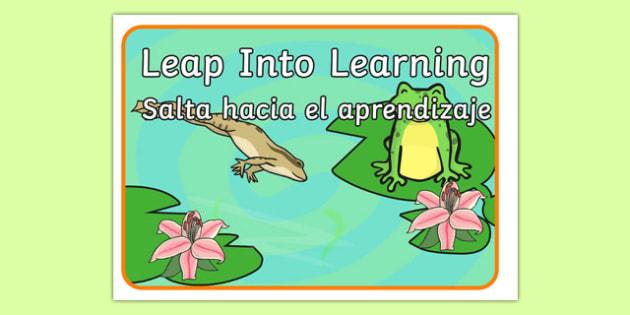 Leap Into Learning Motivational Poster Spanish Translation--translation