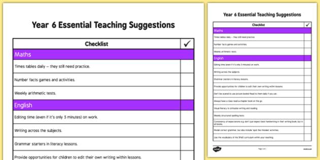 Year 6 Essential Teaching Suggestions Checklist