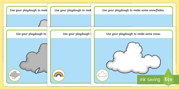 Weather Playdough Mats - weather, fine motor skills, playdough