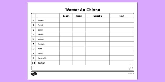 Spelling List An Chlann Activity Sheet - Irish, worksheet