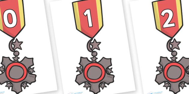 Numbers 0-31 on Medal - 0-31, foundation stage numeracy, Number recognition, Number flashcards, counting, number frieze, Display numbers, number posters