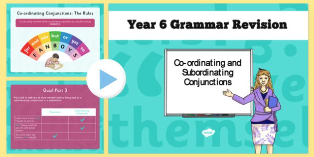 Y6 Grammar Revision Guide Subordinate Conjunctions - Connectives