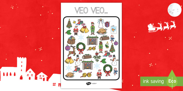 Juego: Veo veo en Navidad-Spanish - jugar, observación, navidad, navideño, navideña,Spanish