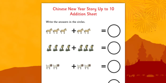 Chinese New Year Story Up to 10 Addition Sheet - addition, sheet