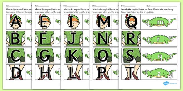 Peter Pan Themed Capital Letter Matching Worksheet - letter