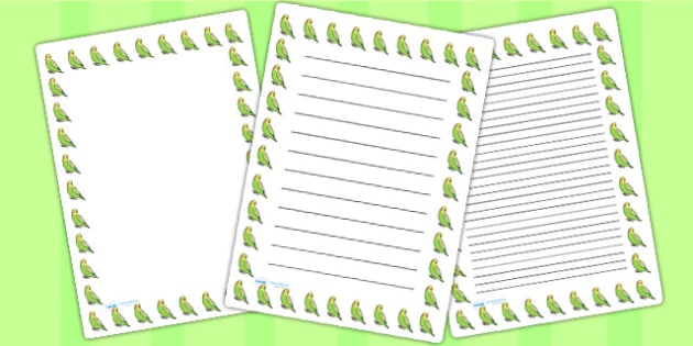 Budgie Page Borders - budgie, page borders, borders, writing