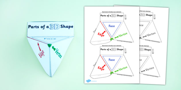 Parts of a 3D Shape Interactive Visual Aid - shapes, 3D shapes, 3D shapes, attributes, face, edge, vertex
