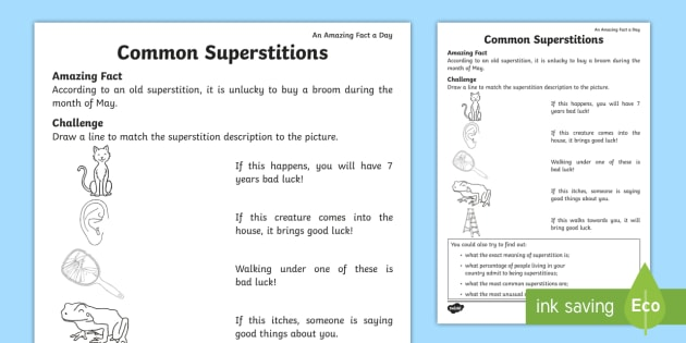 Common Superstitions Activity Sheet - Amazing Fact Of The Day, activity sheets, powerpoint, starter, worksheet, morning activity, May, sup