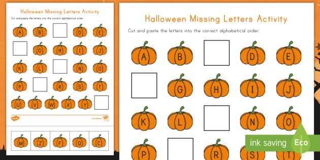 Halloween Missing Letters Activity Sheet - Alphabet, Missing Alphabet, Missing Alphabet Letters, ELA, Pre-K, Cut and Paste, worksheet