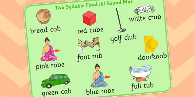 Two Syllable Final B Sound Word Mat 2 - final, b, sound, word mat