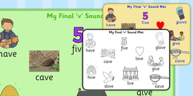 Final 'V' Sound Word Mat - final v, sound, word mat, word, mat