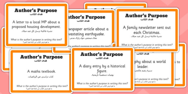 Guided Reading Skills Task Cards Author's Purpose Arabic Translation - english, books, narrative, discussion, group, small, library, style, infer, understand