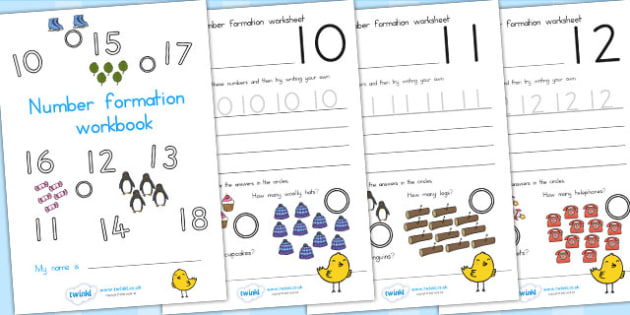 Number Formation Workbook - numbers, form, fine motor skills, overwriting