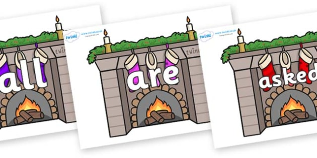 Tricky Words on Fireplaces - Tricky words, DfES Letters and Sounds, Letters and sounds, display, words
