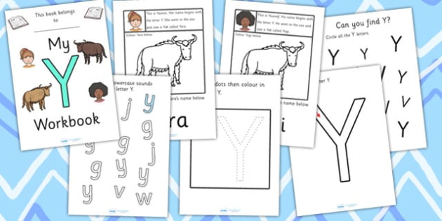 My Workbook Y uppercase - workbook, Y sound, uppercase, letters, alphabet, activity, handwriting, writing