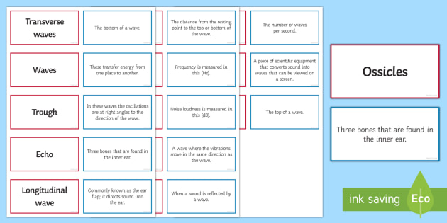 Sound Pairs Glossary Activity - Glossary, sound, amplitude, frequency, crest, trough, Hertz.