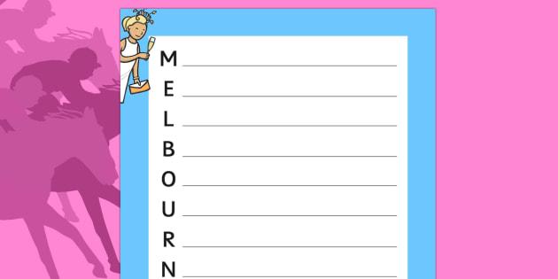 The Melbourne Cup Acrostic Poem - australia, melbourne cup, acrostic poem, poem