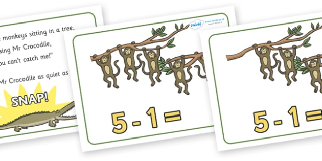 Five Little Monkeys Number Sentence Frames - Five Little Monkeys, nursery rhyme, number, numeracy, sentence frame, frames, rhyme, rhyming, nursery rhyme story, nursery rhymes, counting rhymes, taking away, subtraction, counting basckwards, Five Littl
