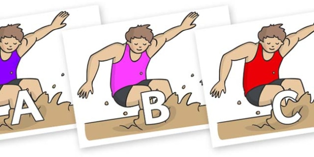 A-Z Alphabet on Long Jump - A-Z, A4, display, Alphabet frieze, Display letters, Letter posters, A-Z letters, Alphabet flashcards