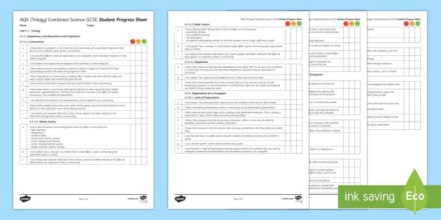 AQA (Trilogy) Unit 4.7 Ecology Student Progress Sheet - Student Progress Sheets, AQA, RAG sheet, Unit 4.7 Ecology, KS4, progress, checklist, assessment