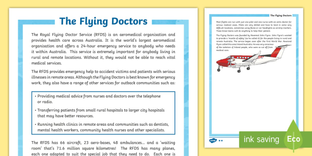 The Flying Doctors Differentiated Fact File - The Flying Doctors, medical, RFDS, The Royal Flying Doctors, aeromedical