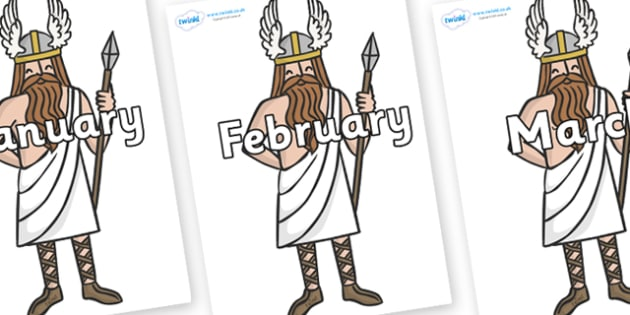 Months of the Year on Viking Gods - Months of the Year, Months poster, Months display, display, poster, frieze, Months, month, January, February, March, April, May, June, July, August, September