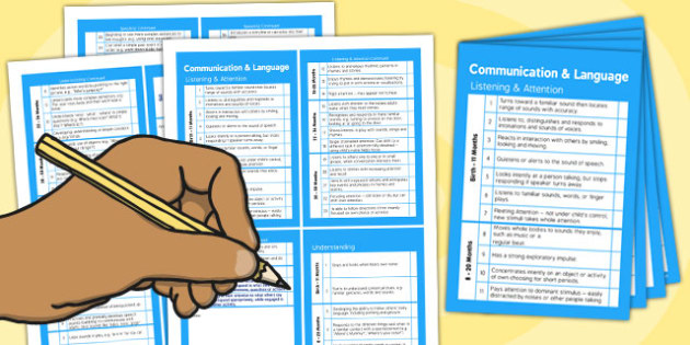 Pocket Sized EYFS Early Years Outcomes Tracking Document Communication and Language - Early, Years, Outcomes