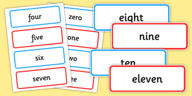 Number Word Cards Zero to One Hundred - maths, counting, tens, ones, display, visual aid
