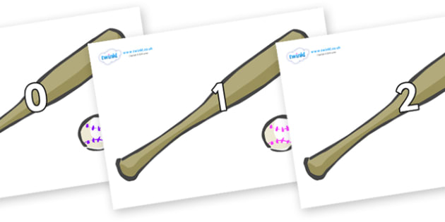 Numbers 0-50 on Bat and Ball - 0-50, foundation stage numeracy, Number recognition, Number flashcards, counting, number frieze, Display numbers, number posters