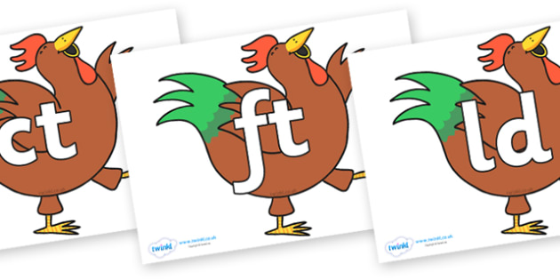 Final Letter Blends on Hullabaloo Rooster to Support Teaching on Farmyard Hullabaloo - Final Letters, final letter, letter blend, letter blends, consonant, consonants, digraph, trigraph, literacy, alphabet, letters, foundation stage literacy