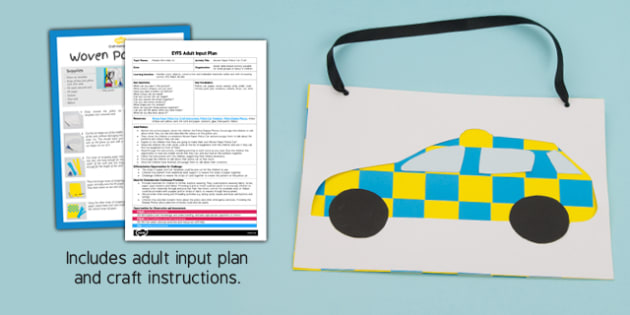 EYFS Woven Paper Police Car Craft Adult Input Plan and Resource Pack