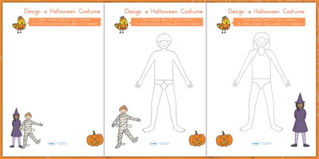 Design A Halloween Costume Worksheets - halloween, halloween worksheets, halloween design sheet, design a costume, design a halloween costume, activity