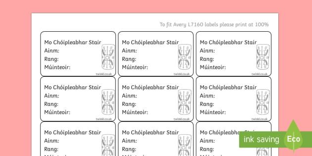 Irish Gaeilge Pupil History Copybook Labels