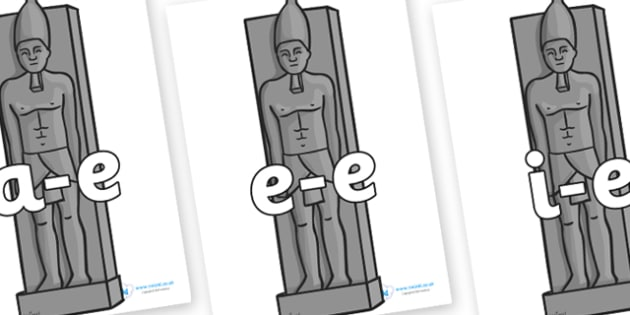 Modifying E Letters on Egyptian Statues - Modifying E, letters, modify, Phase 5, Phase five, alternative spellings for phonemes, DfES letters and Sounds